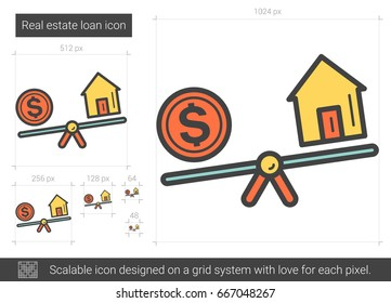 Real estate loan vector line icon isolated on white background. Real estate loan line icon for infographic, website or app. Scalable icon designed on a grid system.