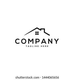 Real Estate logo, Builder logo, Roof Construction logo design template vector illustration