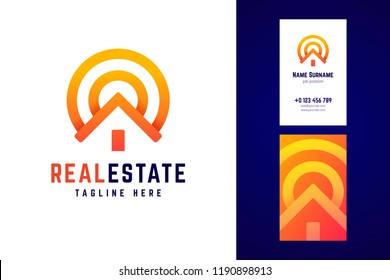 Real estate logo and business card template. House sign in modern line, geometric style with sun. Vector logotype.