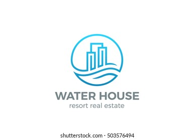 Real Estate Logo Circle design vector template Linear style. House on Water wave Logotype concept icon.