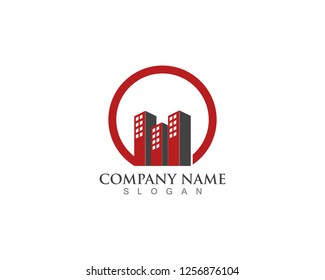 Real estate logo city modern with square shape