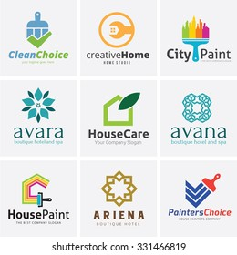Real Estate Logo collection,Home logo,house logo,house painting logo,hotel and boutique hotel logo,Vector Logo template