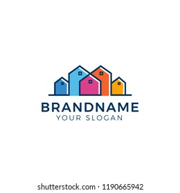 Real estate logo with colorful house set as supply concept. Tucked and pocket logo design vector