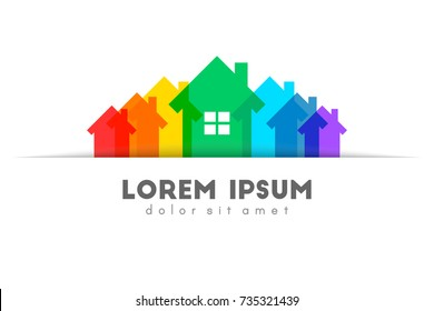 Real estate logo with colorful house set as supply concept. Tucked and pocket design.