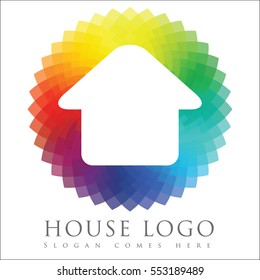 Real estate logo concept design with white house and rainbow spectrum colored background