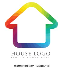 Real estate logo concept design with rainbow spectrum colored house