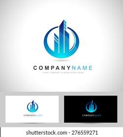 Real Estate Logo / Corporate blue Concept Real estate logo
