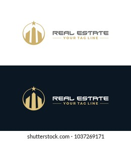 Real estate logo, creative gold towers.