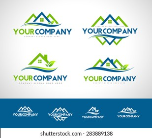 Real Estate Logo. Creative real estate icon with green leafs