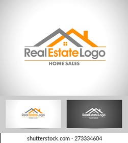 Real Estate Logo Design. Creative abstract real estate icon logo and business card template.