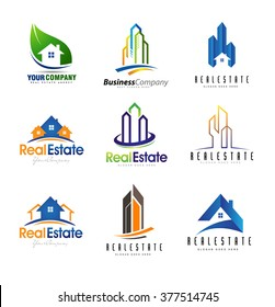 Real Estate Logo Design Set. Creative abstract real estate icons.