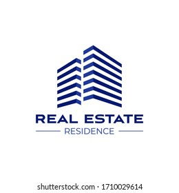 Real estate logo design template. Perspective view of buildings. Residence logo Construction logo. Skyscraper logo. Rental. Business. Branding.