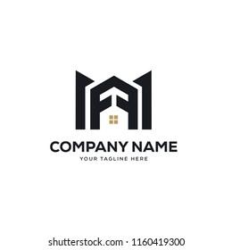 real estate logo design vector, initial letter logo m design template