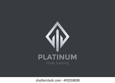 Real Estate Logo design vector template Rhombus shape. Luxury Fashion Jewelry Logotype concept icon.