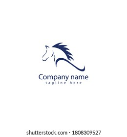 Real estate logo emblem blue  Horse Logo Vector Icon Template. Horse Head Logo.vector illustration