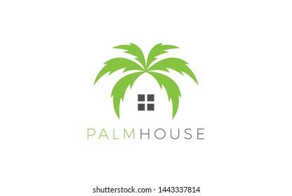 Real Estate logo formed plam leaf symbol in green color