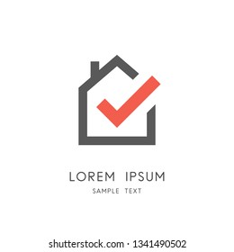 Real estate logo - home or house with chimney and check mark or tick symbol. Realty and property agency, construction or building industry vector icon.