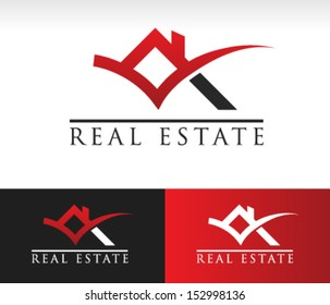 Real estate logo icon with roof and check mark graphic element.