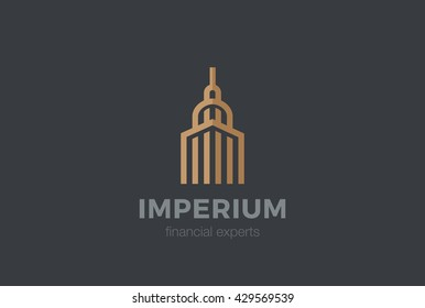 Real Estate Logo Luxury Hotel abstract design vector template Linear. Commercial property Building construction finance Logotype concept outline icon.