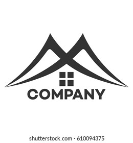 real estate logo and M company linked letter logo
