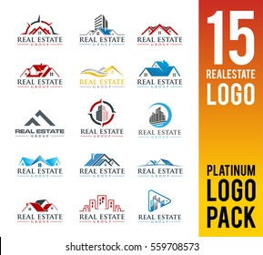Real Estate Logo Pack. 15 Set Logo Design. Vector Illustrator Eps.10