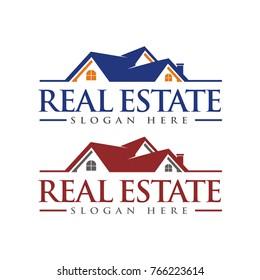 Real Estate logo, Roof Construction logo, Builder logo design template vector illustration