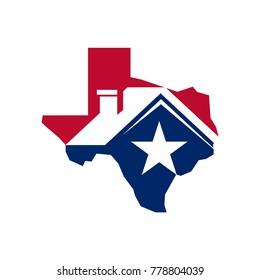 Real estate logo, roof top inside Texas map design template vector illustration
