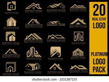 Real Estate Logo Set, Creative House Logo Collection, Abstract Buildings Logo Set. Vector Illustrator Eps.10