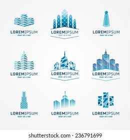 Real estate logo set. Vector icon pack.