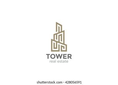 Real Estate Logo Skyscraper Business abstract design vector template Linear.