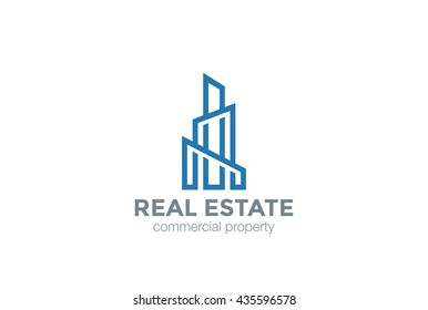 Real Estate Logo Skyscraper Business abstract design vector template Linear. Commercial property Building construction finance Logotype concept outline icon.