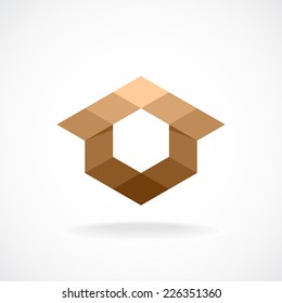 Real estate logo template. Abstract rhombus concept.