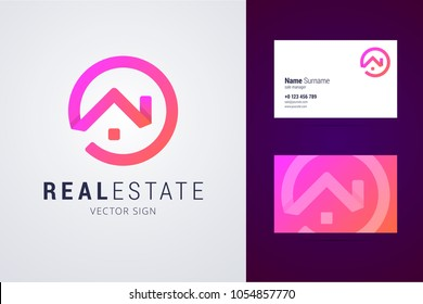Real estate logo template with business card design.
