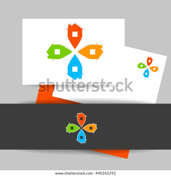 Real Estate Logo Template Concept Identity Stock Vector