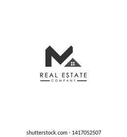 Real Estate logo template with minimalis style. Initial M logo design.- Vector