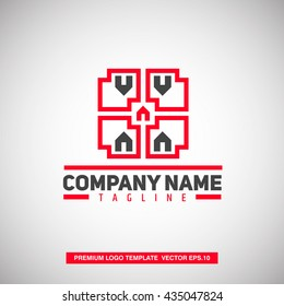 Real Estate Logo Template. With Roof and House shape.Vector Eps. 10