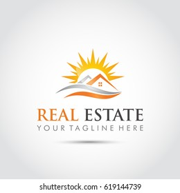 Real Estate Logo template with Sunset. vector Illustrator Eps. 10