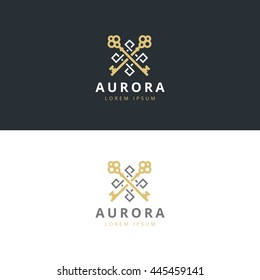 Real estate logotype. Keys logo icon design. Premium logo.