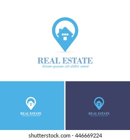 Real Estate Map Point Center Vector Icons, Logos, Sign, Symbol Template