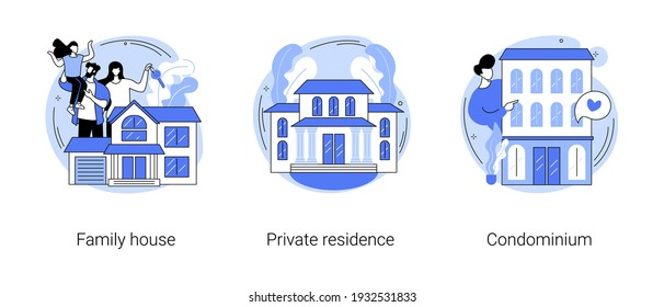 Real estate market abstract concept vector illustration set. Family house, private residence, condominium, mortgage loan, down payment, land ownership, detached home, backyard abstract metaphor.