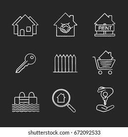 Real estate market chalk icons set. Neighborhood, house for rent, key, fence, swimming pool, real estate deal, homebuyer, shopping cart with house inside. Isolated vector chalkboard illustrations