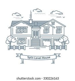 Real estate market concept flat line vector architecture design. Outlined stroke icon. Split-level family house. Property investment. For poster, flyer, web, banner, header, hero image, motion design