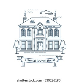 Real estate market concept flat line vector architecture design. Outlined stroke icon. Colonial revival house. Property investment. For poster, flyer, web, banner, header, hero image, motion design