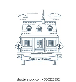 Real estate market concept flat line vector architecture design. Outlined stroke icon. Cape Cod house. Property investment. For poster, flyer, web, banner, header, hero image, motion design