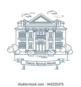Real estate market concept flat line vector architecture design. Outlined stroke icon. Classic revival house. Property investment. For poster, flyer, web, banner, header, hero image, motion design