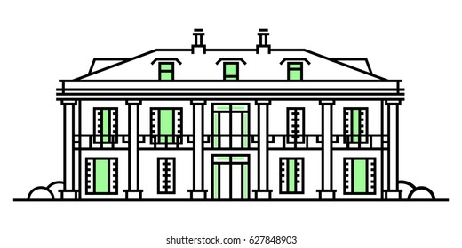 Real estate market concept flat line vector architecture design. Outlined stroke icon. Colonial style house. Property investment