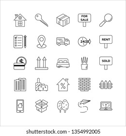 Real estate market line icons set. Rental and leasing property. Home ownership. Housing, accommodation. Real estate agency. Moving service linear illustrations. Isolated contour vector symbols