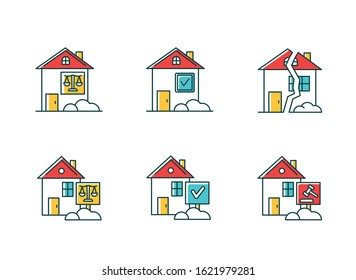 Real estate matters RGB color icons set. Tenancy legal dispute. Property litigation, court case. Realty trial. Lease agreement, contract. Conflict resolution. Isolated vector illustrations