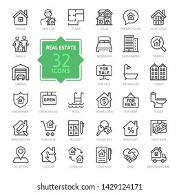 Real Estate minimal thin line web icon set. Included the icons as realty, property, mortgage, home loan and more. Outline icons collection. Simple vector illustration.