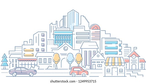 Real estate - modern line design style vector illustration on white background. High quality composition with cityscape, housing complex, buildings, shops, cars on the road. Urban architecture
